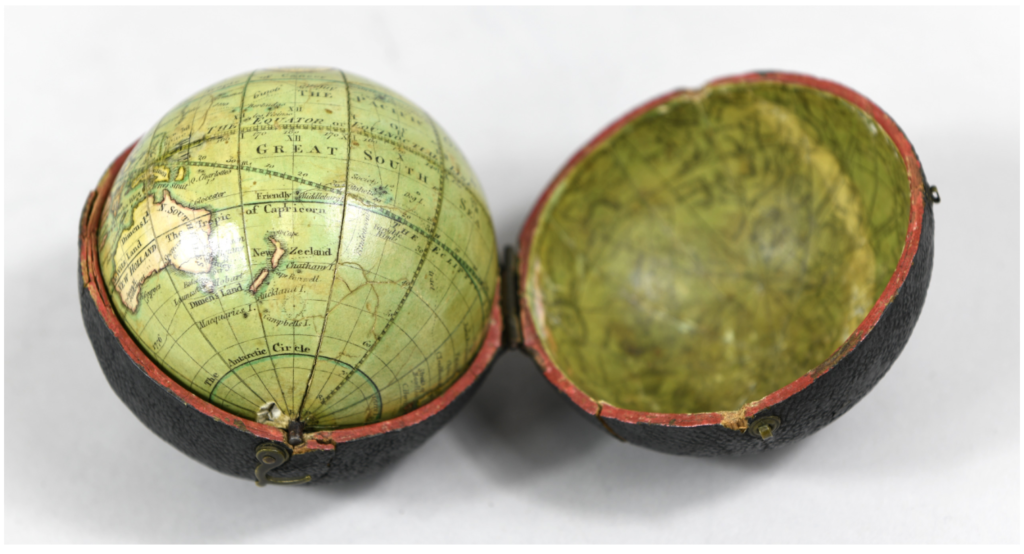 Pocket globe by Thomas Lane (London, c. 1830), Adler Planetarium collections. This globe was symbolically taken aboard Space Shuttle Discovery in 1999 during the mission STS-103.