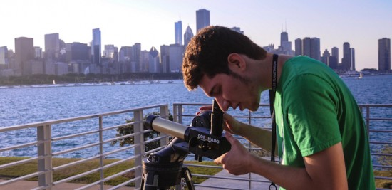 A telescope observer at the Adler Planetarium.