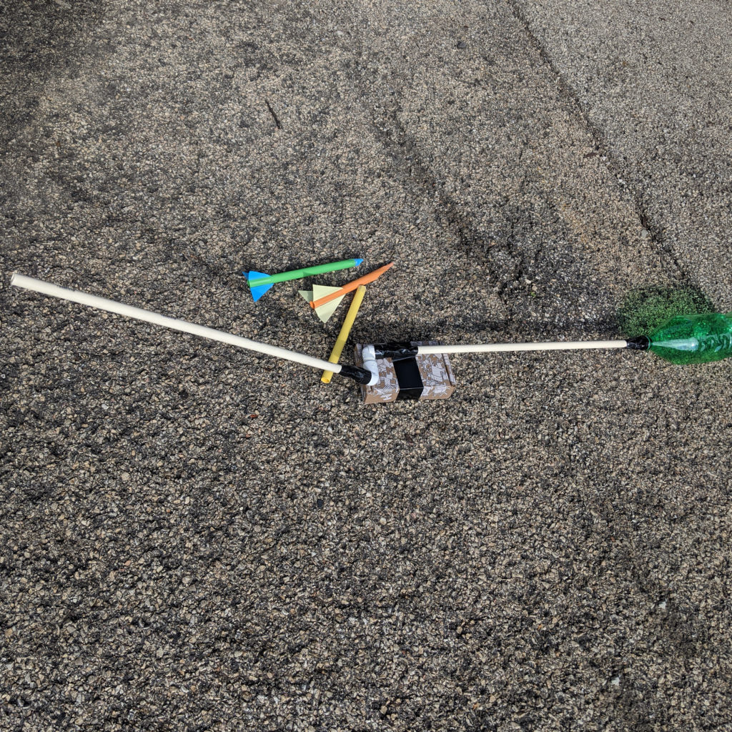 Here is a complete example of a stomp rocket launcher and rockets
