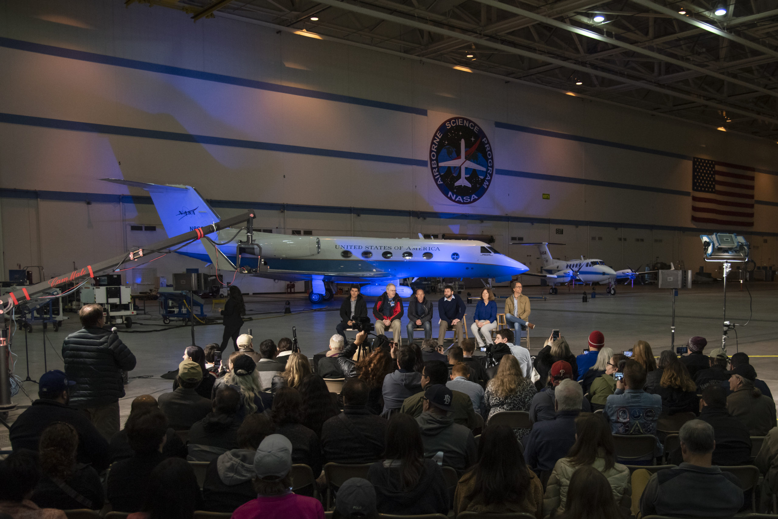 NASA's Armstrong Flight Research Center hosted a NASA Social at BLDG 703 in Palmdale, California. Over 90 attendees toured the aircraft inside the hangar as they learned about the five airborne science expeditions targeting air, land, and sea.