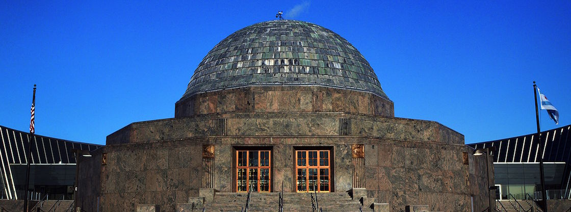 An external shot of the Adler Planetarium.