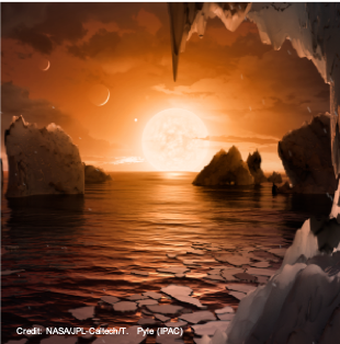 This illustration shows the possible surface of TRAPPIST-1f. Credit: NASA/JPL