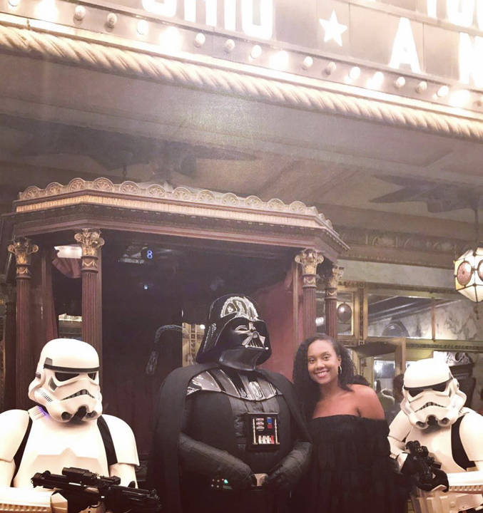 Adler employee Bianca with Darth Vader and his stormtroopers.