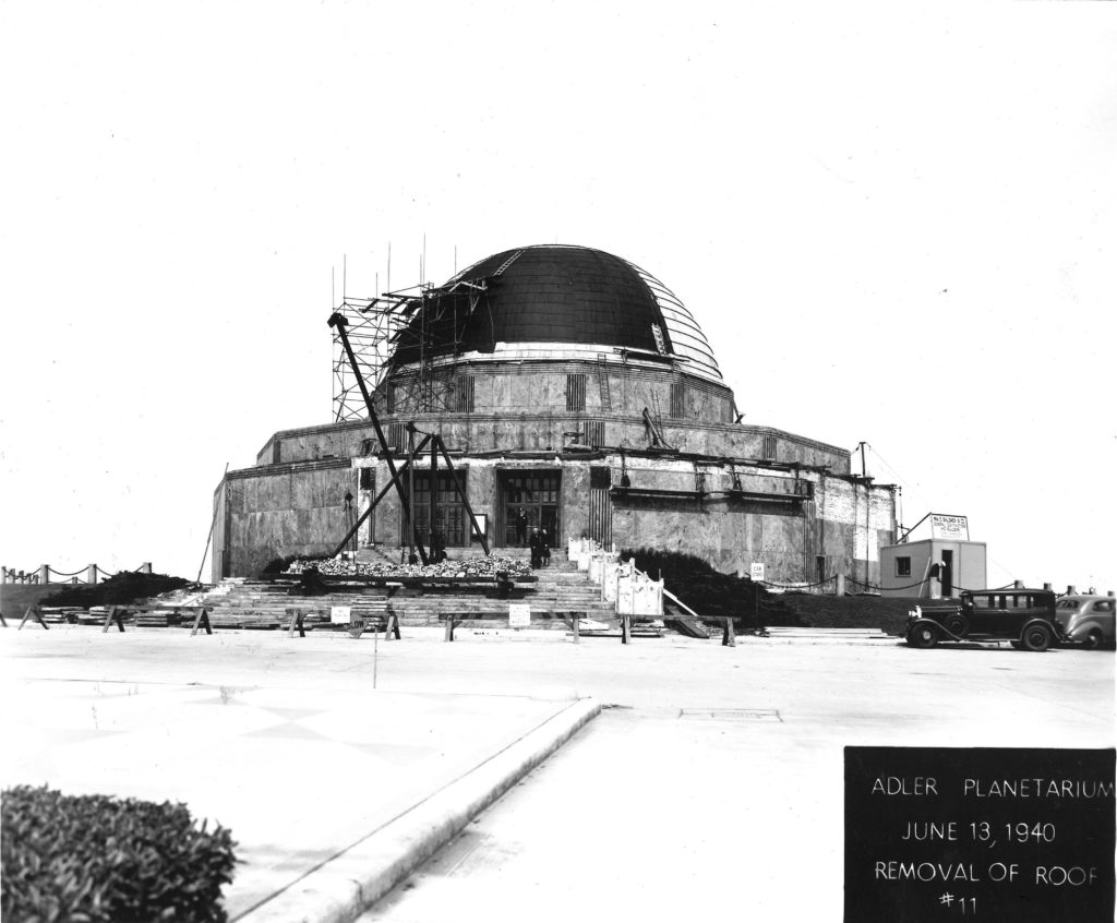 The Adler Planetarium in June 13, 1940 when the roof was being removed for repairs.
