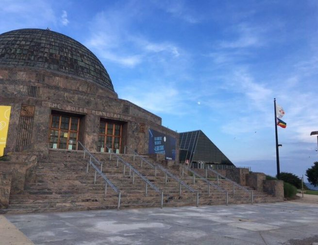 Header Image: Adler Planetarium with a Full Moon in the background taken by Adler Planetarium Telescope Volunteer in July 2020. Image Credit: Bill Chiu