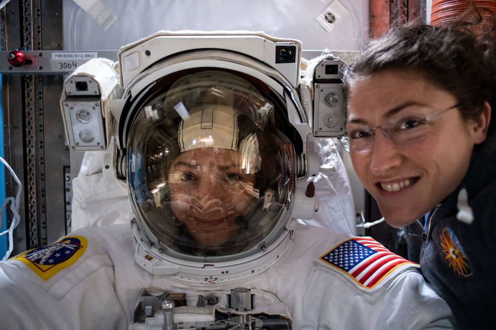 Astronauts Meir and Koch getting ready for the first all-female spacewalk.