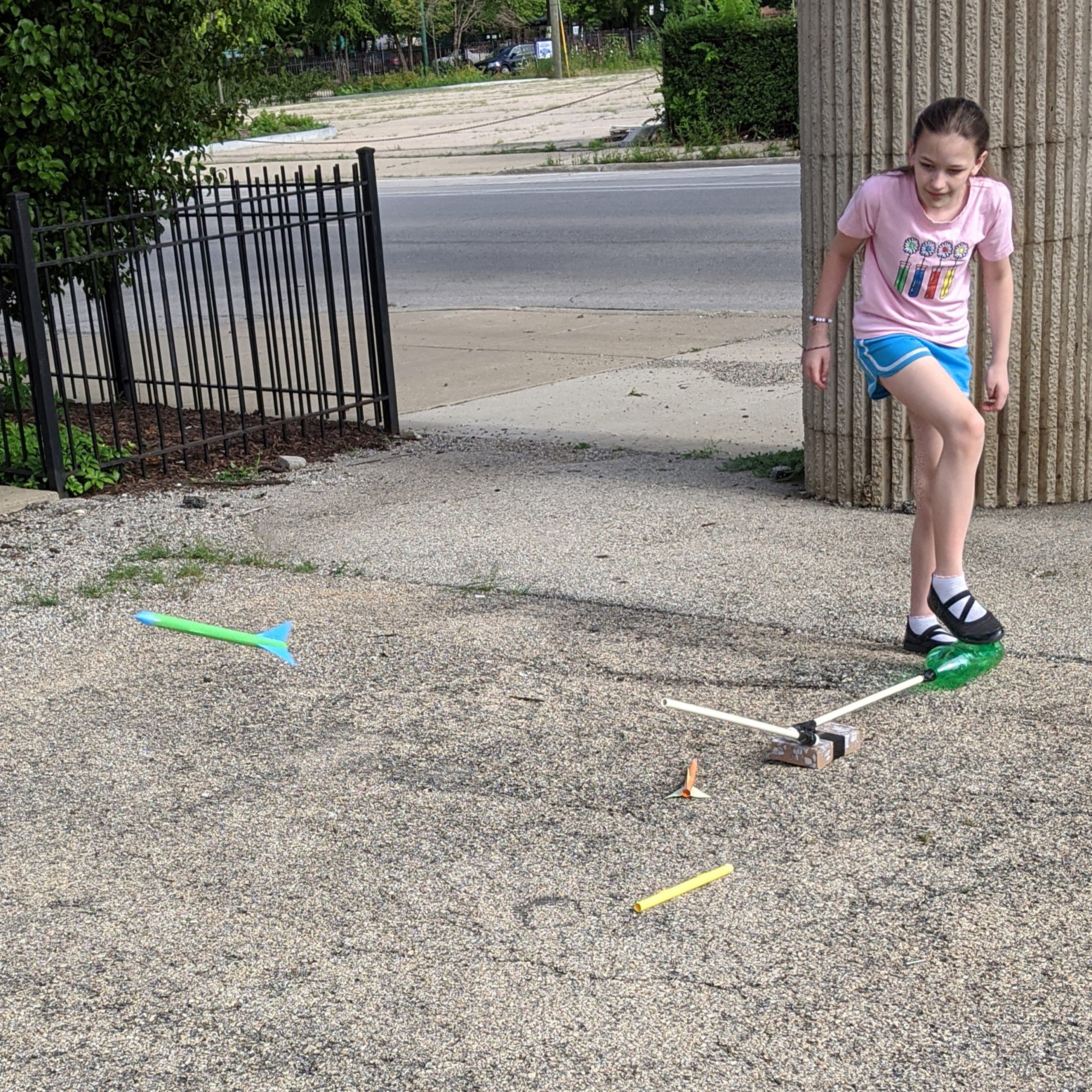 Create your own stomp rocket with supplies from around your house and launch it outside!