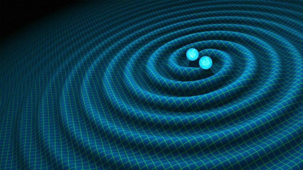 Artist concept of gravitational waves involving the collision of binary neutron stars.