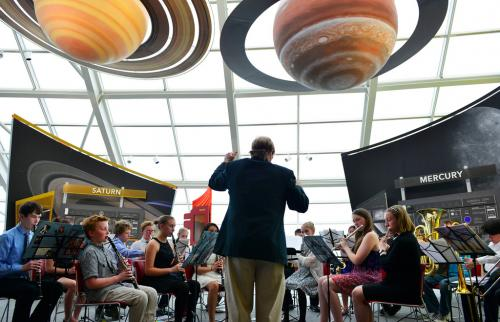 Guests explore the Adler's 'Our Solar System' exhibition.