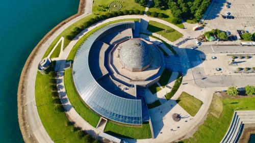 An aerial shot of the Adler Planetarium.