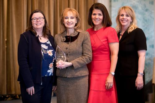 Women in Space Science Award Celebration 2018 President Michelle B. Larson with Dr. Rosaly Lopes, Meg Sauer, and Dr. Carsi Hughes