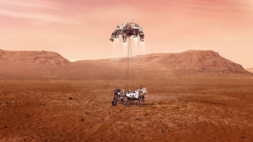 Illustration of Mars Perseverance landing on the Red Planet. Credit: NASA/JPL-Caltech