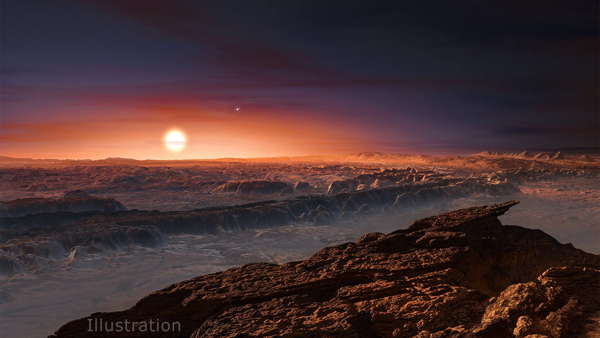 This artist's impression shows a view of the surface of the planet Proxima b.