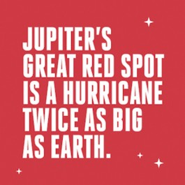 Jupiter's Great Red Spot is a hurricane twice as big as Earth.