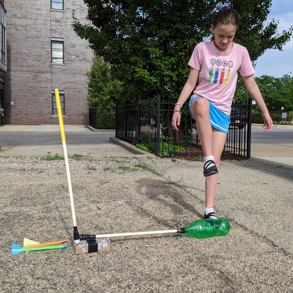 When you have your stomp rocket set up outside, make sure you stomp on the launcher and do not jump